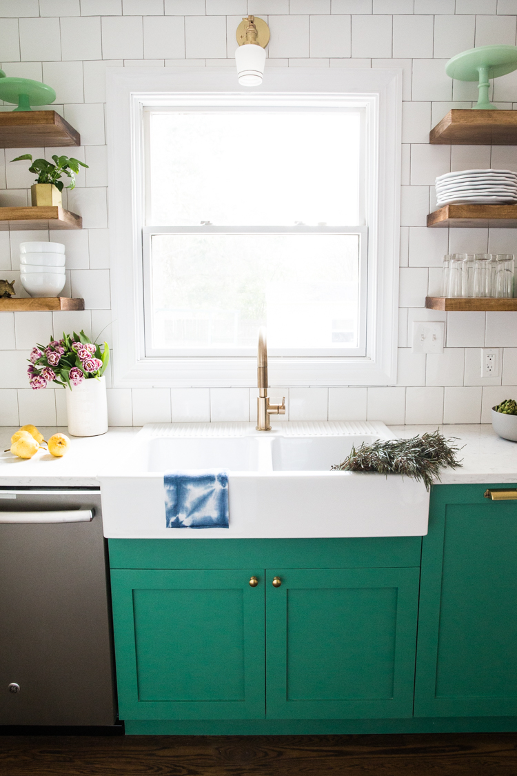 Green Cabinets Small Kitchen Reveal 5 Live Free Creative Co