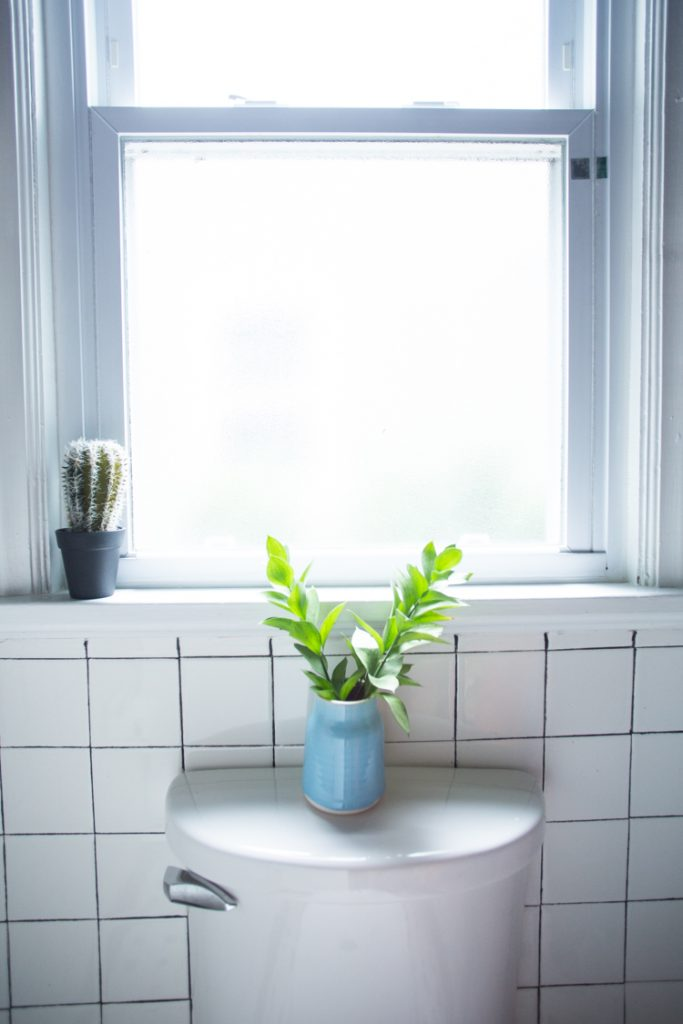 ... Small Bathroom, Which Plays Nicely With The Matte Black Plumbing  Fixtures And The Brass Shelving And Hooks. The Glass Shades Disappear, And  The Light Is ...