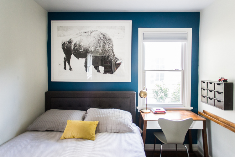 Grown-Up Kids Bedroom With A Blue Accent Wall - Live Free Creative Co